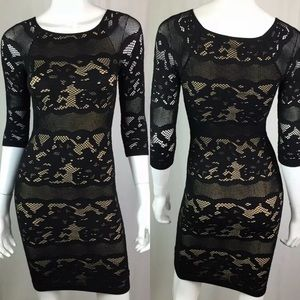 Bebe Lace 3/4 Sleeve Stretchy Bodycon Sheath Dress